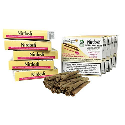 Nirdosh® Beedies - 10 Pakete von den Zigaretten mit Ayurveda Kräutern - frei von Nikotin, Tabak, Papier - OHNE FILTER - Medizinisches Gerät