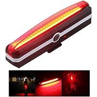 Sidiou Group Super luminoso coda della bicicletta ricaricabile USB Luce Montagna LED bici del fanale posteriore della luce d'avvertimento della luce posteriore della luce anteriore con attacco al manubrio (rosso)
