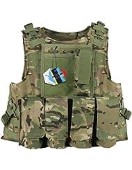 Pellor CS Amphibie Militaire Veste de Protection Molle Gilet Tactique d'Airsoft pour Entraînement de Sécurité Action Réelle Chasse Extérieure