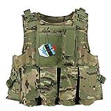 Pellor CS Amphibie Militaire Veste de Protection Gilet Tactique d'Airsoft pour Entraînement de Sécurité Action Réelle Chasse Extérieure (CP Camouflage)