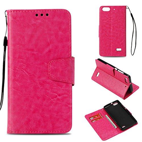 SATURCASE Huawei Honor 4C Hülle, Premium Qualität PU Lederhülle Magnetverschluss Flip Brieftasche Handy Tasche Schutzhülle Handyhülle Hülle mit Standfunktion für Huawei Honor 4C (Rose)