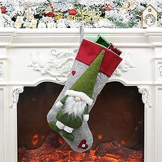 WAINEO Medias de Navidad Titulares Con 3d Gnome Doll Decor Xmas Colgante Colgante Chimenea Adornos Vacaciones Temporada Decoraciones Regalo Calcetín