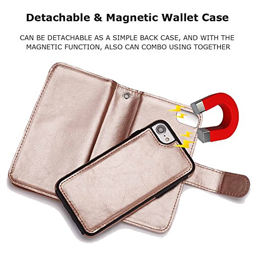iPhone 8 Plus Wallet Case, SOUNDMAE Magnetic Detachable Premium PU Leather Wallet Case 2in1 Removable Protective Flip Cover With Card Slot Cash Pocket Hand Strap for iPhone 8 Plus [Black] Z-Green Gold