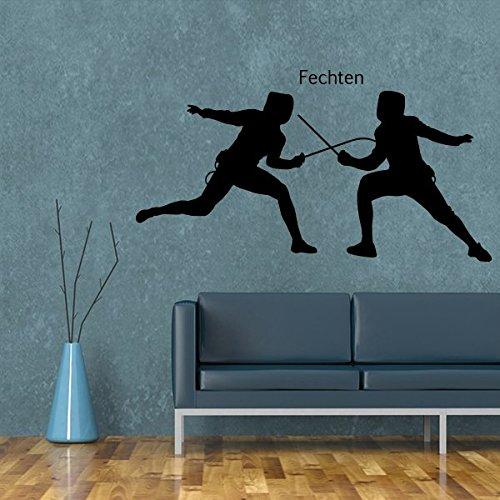 denoda Fechten - Wandtattoo Fliederfarben 47 x 25 cm (Wandsticker Wanddekoration Wohndeko Wohnzimmer Kinderzimmer Schlafzimmer Wand Aufkleber)
