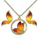 Scrox 2pcs Juego de Joyas Mujeres Plata Conjunto Joyería Colorido Collar Mariposa Colgante Rhinestone Retro Pulsera Anillo Platino Pendientes (Amarillo)