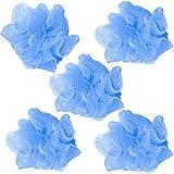 BRUBAKER Cosmetics - 5x Premium Peeling- oder Massage Schwamm Badeschwamm Duschschwamm mit Aufhänger - Blau