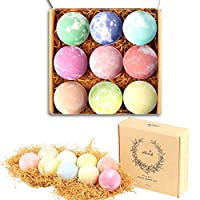 YingBao 9PCS Bath Bombs Gift Set Mixed Color Large Natural Organic Relax Bath Spa Bomb Kit for Women Men Children Fizzy Mild Super Nice Scents Handmade