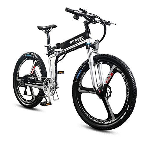 SportArts Bicicletta da Montagna Pieghevole Elettrica con Batteria Li-Batteria Removibile da 48V 27 Marce E Tre modalità di Lavoro,Black