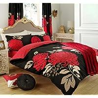 Set Copripiumino LuxuRy alta qualità nero–rosso–set copripiumino matrimoniale con coppia