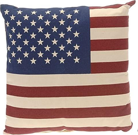Aminata – gefülltes Kissen 48x48 cm USA Flagge Style Baumwolle + Polyester beidseitiger Druck Kuschelkissen Rot Blau Creme Vintage Stars and Stripes Amerika Fahne Sofakissen Kopfkissen (Günstige Jugendbetten)
