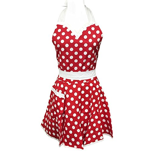 Kostüm Disney Walt Mädchen - NormCorer-Nette Mädchen Einstellbare Polka Dot Kochen Schürze Kleid mit Tasche-Schöne Schatz Bowknot Pinafore Geschenk | Cosplay Kostüm - Lady's Home Küche | Restaurant | Party (1 Stück) (roter / weißer Punkt)