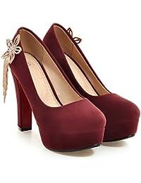 QIN&X Bloc de Femmes Peu Profondes Bouche Talons Hauts Chaussures de Mariage Parti Pompes Cour,Blanc,33