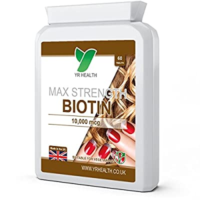 Biotin Tablets for Hair, Nail & Skin | 10,000mcg | Vegan Friendly | 2 Month's Supply Easy to Swallow Small Tablets
