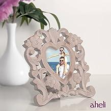 Aheli de madera en forma de corazón tallado foto marco de fotos con soporte de mesa