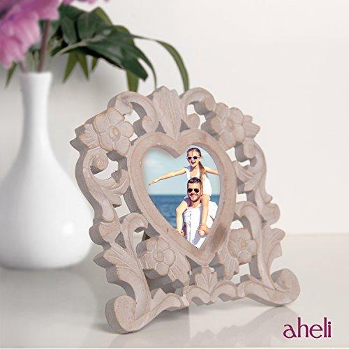 Aheli de madera en forma de corazón tallado foto marco de fotos con soporte de mesa muebles para el hogar decoración de la pantalla