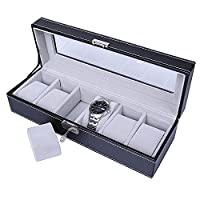 Watch Box Storage, Watch Holder, Watch Organiser, Mens Watches Case for 6Grids, Faux Leather(Black-Grey)Watch Display with Glass Lid Lock Key and Velvet Liner by JKC