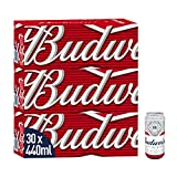 Budweiser Party Pack Lager Beer 30x440ml Cans - Premier League Edition - 4.5% ABV - Ideal New Year's Eve Beer Party Pack