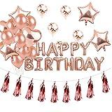 """Banniere Bapteme, DéCorations Anniversaire, Anniversaire BannièRe DéCoration FêTe Pour Filles Adultes - 1 * Banderole """"HAPPY BIRTHDAY"""",15 Ballons(Rose PâLe), 4 Pcs Ballons Star Foil, 2 Pcs Ballons En Forme (Or Rose)"""