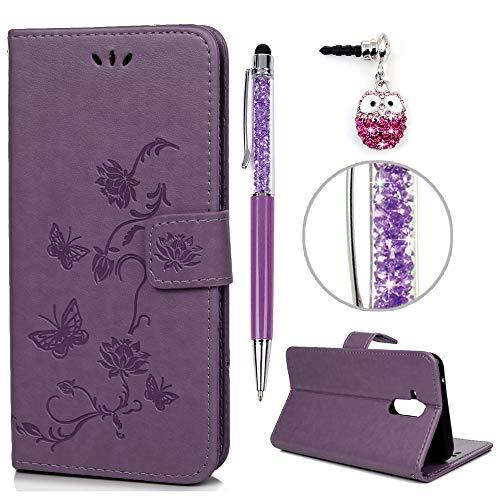 iAdvantec Huawei Mate 20 Lite Hülle Case, Filp Leder Wallet Handyhülle Flipcase : Bookstyle Lotus Schmetterling Tasche Brieftasche Schutzhülle in Hellviolett + Stöpsel + Stylus