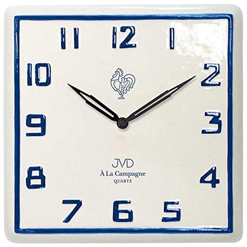 JVD TS2618.2 Küchenuhr Wanduhr Küche Quarz analog Keramik weiß blau Keramikuhr