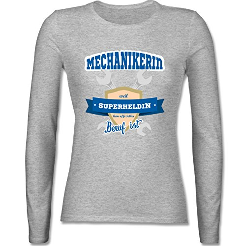 Handwerk - Mechanikerin - weil Superheldin kein offizieller Beruf ist - tailliertes Longsleeve / langärmeliges T-Shirt für Damen Grau Meliert