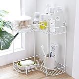 WANGXIAOLIN Kreatives Doppeltes Dreieck-Zahnstangen-Badezimmer-Badezimmer-Küchen-Lagerregal-Gewürz-Zahnstangen-Boden-Wäscheständer (Farbe : Weiß)