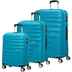 American Tourister 74137/2302 WaveBreaker Juego de 3 Maletas, 96 litros, Color Azul