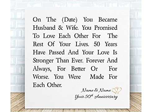 Your 50th Wedding Anniversary Personalised Poem Ceramic Plaque. Boxed. Personalised details