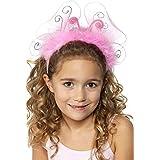 Smiffys, Kinder Mädchen Haarband mit Schmetterlingsflügeln und Lametta, One Size, Pink, 31534