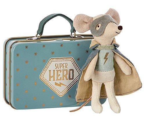 Maileg–Guardian Super Hero Maus in Koffer–Superhero Maus mit Maske & (Hero Cape Super)