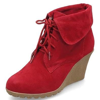 MQ23 Damen trendige Ankle Boots Stiefeletten mit Keilabsatz MQ1197 Red Gr. 41