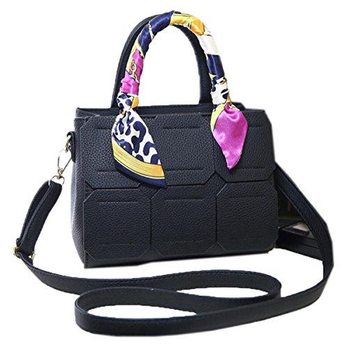 WU Zhi Onorevoli PU sciarpe Zaini Messenger Bag Black