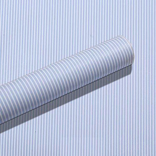 HOYOYO 43,2x 198,1cm Selbstklebend Regal Liner, Feuchtigkeit Proof Kommode Schublade Papier Regal Schimmelfest Antifouling Kontakt Papier, Blau, Weiß Streifen - Regal Schubladen Streifen