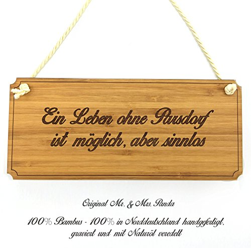 Mr. & Mrs. Panda Türschild Stadt Parsdorf Classic Schild - Landhaus, Shabby, graviert Türschild, Schild, Türschild, Dekoschild, Deko, Einrichtung, Nostalgie, Geschenk, Fan, Fanartikel, Souvenir, Andenken, Fanclub, Stadt, Mitbringsel