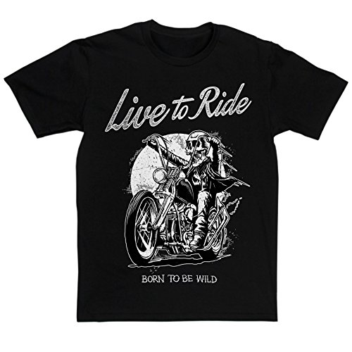 Mens Live To Ride Born To Be Wild Biker Motorcycle T-shirt (black/print 4xlarge)