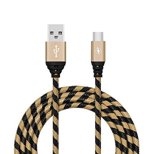 1M 2M 3M 2A geflochtenes Aluminium USB-C USB 3.1 Typ C Daten Sync schneller Ladegerät Kabel für Samsung Galaxy S8 kingko Unterstützung Skalierbare Stromversorgung (Gold) (Hinweis 4 Geflochtene Kabel Ladegerät)