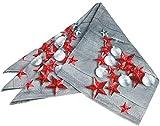 com-four® Tischdecke im weihnachtlichen Design mit roten Sternen, 80 x 80 cm (01 Stück - Tischdecke rote Sterne)