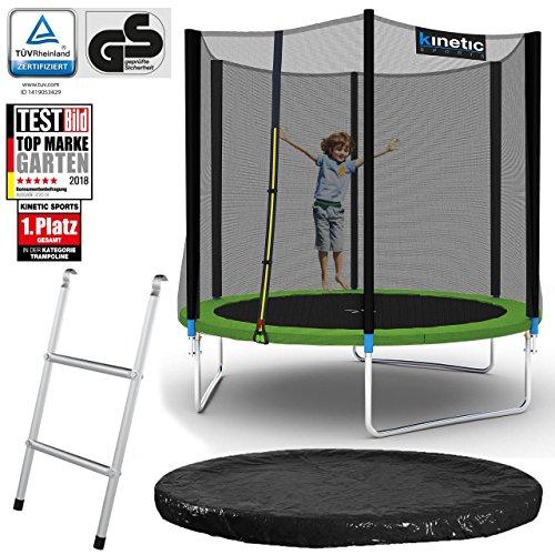 Kinetic Sports Outdoor Gartentrampolin Komplett-Set inkl. Sicherheitsnetz Randabdeckung Leiter Abdeckplane für Kinder und Erwachsene Ø 244 cm GRÜN
