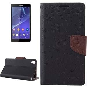 Cross Texture Etui cuir pour Sony Xperia Z3 Noir Marron