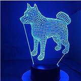 Amerikanischen Japanischen Akita Samoyed Husky Hund 3D Lampe 7 Farben Ändern Schreibtischlampe Neuheit Led-nachtlichter Led-Licht Drop Shipping