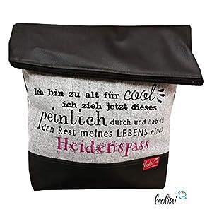 Foldover Tasche Spruch Heidenspaß Stickerei handmade Foldovertasche mit Außenfach