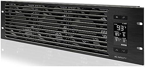 AC Infinity CLOUDPLATE T9, Rack Mount Fan Panel 3U, Exhaust Airflow, for cooling AV, Home Theater, Network 19 Â Racks