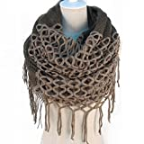 TININNA Inverno Caldo uncinetto Lavorato a maglia Infinity loop nappe morbide scialle Sciarpe dell'involucro della Sciarpa per le donne ragazze Khaki