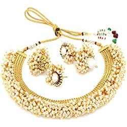 Meenaz Jewellery Gold plated Jewellery Set for womens with Ear rings for girls party wear Traditional One gram Copper Pearl Kundan Pendant Necklace Set Wedding Bridal Sarees Earrings For Women Traditional,Girls- Jewellery earring set-185
