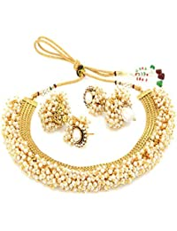 Meenaz Jewellery Gold Plated Jewellery Set For Womens With Ear Rings For Girls Party Wear Traditional One Gram...