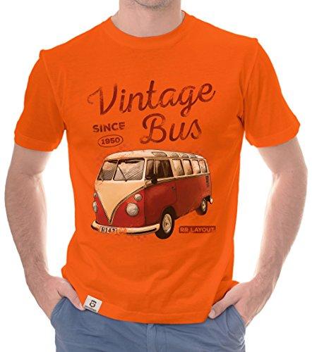 Herren T-Shirt - Vintage Bus - Since 1950 (XL, Orange-Rot) (Rot Orange Shirt)