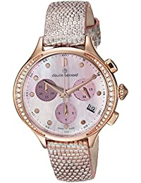 Claude Bernard Women's 'Code Chronograph' Swiss Quartz Stainless Steel and Leather Dress Watch, Color:Pink (Model: 10232 37RP NARIR)