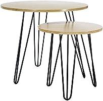 LOMOS® No.14 Set de tables basses en look rétro scandinave, imitation bois (avec pieds en métal noir)