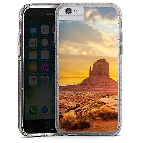 Apple iPhone 6 Plus Bumper Hülle Bumper Case Glitzer Hülle Sonnenuntergang Amerika America Bumper Case Glitzer rose gold