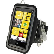 igadgitz Reflektierenden Anti-Rutsch Neopren Sportarmband für Nokia Lumia 720–Schwarz